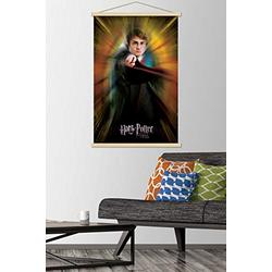 """Trends International Potter and The Goblet of Fire-Harry One Sheet Wall Poster with Wooden Magnetic Frame, 22.375"""" x 34"""", Premium Print and Beechwood Hanger Bundle"""