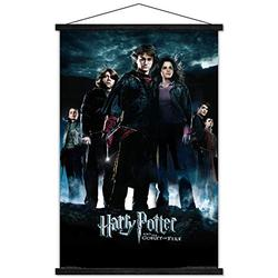 """Trends International Harry Potter and The Goblet of Fire - Group One Sheet Wall Poster with Wooden Magnetic Frame, 22.375"""" x 34"""", Print and Black Hanger Bundle"""