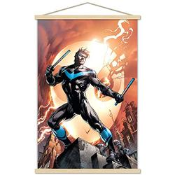 """Trends International DC Comics - Nightwing - Fire Wall Poster with Wooden Magnetic Frame, 22.375"""" x 34"""", Premium Print and Beechwood Hanger Bundle"""
