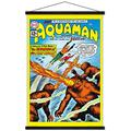 "Trends International DC Comics - Aquaman - The Invasion of The Fire-Trolls Wall Poster with Wooden Magnetic Frame, 22.375"" x 34"", Premium Print and Black Hanger Bundle"