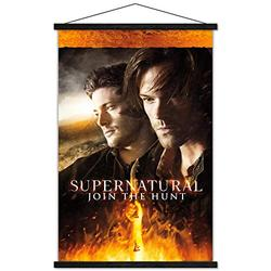 """Trends International Supernatural - Fire Wall Poster with Wooden Magnetic Frame, 22.375"""" x 34"""", Premium Print and Black Hanger Bundle"""