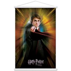 """Trends International Potter and The Goblet of Fire-Harry One Sheet Wall Poster with Wooden Magnetic Frame, 22.375"""" x 34"""", Premium Print and White Hanger Bundle"""