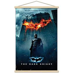 """Trends International DC Comics Movie - The Dark Knight - Batman Logo on Fire One Sheet Wall Poster with Wooden Magnetic Frame, 22.375"""" x 34"""", Premium Print and Beechwood Hanger Bundle"""
