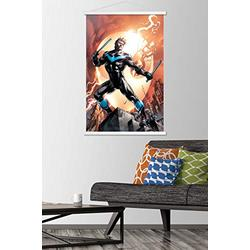 """Trends International DC Comics - Nightwing - Fire Wall Poster with Wooden Magnetic Frame, 22.375"""" x 34"""", Premium Print and White Hanger Bundle"""