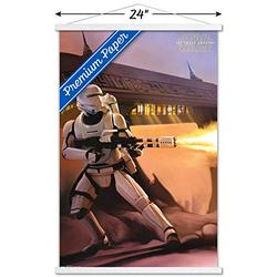 """Trends International Star Wars: The Force Awakens - Fire Wall Poster with Wooden Magnetic Frame, 22.375"""" x 34"""", Premium Print and White Hanger Bundle"""
