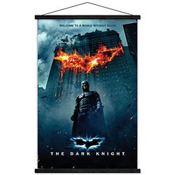 """Trends International DC Comics Movie - The Dark Knight - Batman Logo on Fire One Sheet Wall Poster with Wooden Magnetic Frame, 22.375"""" x 34"""", Premium Print and Black Hanger Bundle"""