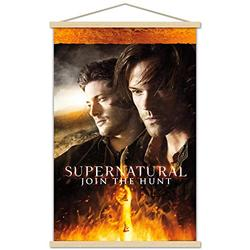 """Trends International Supernatural - Fire Wall Poster with Wooden Magnetic Frame, 22.375"""" x 34"""", Premium Print and Beechwood Hanger Bundle"""