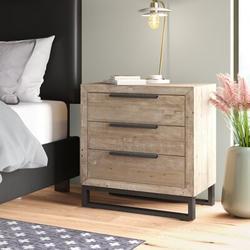 Birch Lane™ Suzette 3 Drawer Nightstand Wood in Brown/Green, Size 28.0 H x 27.0 W x 16.0 D in   Wayfair 903879B977DF436CAED6D609AB103CB6