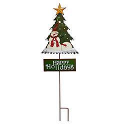 Kilipes Christmas Tree Garden Stake Santa Snowman Christmas Tree Yard Stake Happy Holiday Sign Rustic Xmas Outdoor Holiday Yard Decoration Metal (Green Sign)