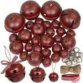 """30 Pcs Christmas Metal Sleigh Bells Rustic Burgundy Jingle Bells with Star Cutouts Rustic Craft Bells 1.6"""" 2.4"""" 3.5"""" for Christmas Tree Wreath Garland Ornaments Holiday DIY Decorations"""