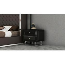 Abrazo Night Stand, High Gloss Black, 2 Self-Close Drawers With Geometric Design, Chrome Handle - Whiteline Modern Living NS1356-BLK