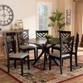 Baxton Studio Norah Modern Grey Fabric & Dark Brown Finished Wood 7-PC Dining Set - Wholesale Interiors Norah-Grey/Dark Brown-7PC Dining Set
