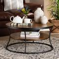 Baxton Studio Albany Vintage Rustic Industrial Walnut Brown Finished Wood & Black Finished Metal 1-Shelf Coffee Table - Wholesale Interiors YLX-2780-CT