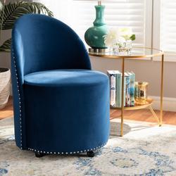Baxton Studio Bethel Glam & Luxe Navy Blue Velvet Fabric Rolling Accent Chair - Wholesale Interiors WS-52226-Navy Blue Velvet-CC