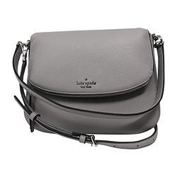 Kate Spade New York Jackson Soft Pebbled Leather Medium Flap Shoulder bag, Nimbus Grey