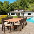 Bayou Breeze Akron International Home 11 Piece Dining Set w/ Cushions Wood/Wicker/Rattan in Brown/White, Size 29.0 H x 70.5 W x 43.0 D in | Wayfair