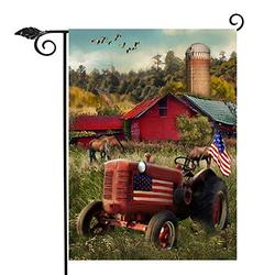 """Diavy 4th of July Welcome Garden Flag, Patriotic House Yard Outdoor Flag Country Tractor Horse Sign, Farmhouse Rustic Burlap Spring Summer Outside Decoration USA Holiday Home Decor Flag 28"""" x 40"""""""