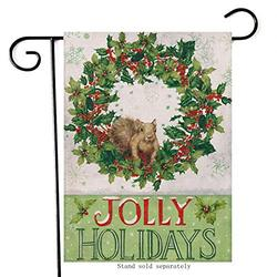 """Diavy Jolly Holidays Christmas Home Decorative Garden Flag, Merry Xmas House Yard Squirrel Red Berry Wreath Decor Double Sided, Winter Outside Welcome Decorations Farmhouse Outdoor Flag 28"""" x 40"""""""
