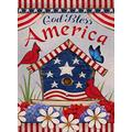 "Diavy Home Decorative Outdoor 4th of July Patriotic Cardinal Garden Flag Double Sided, God Bless America House Yard Flag, Red Bird Geraniums Decorations, USA Flower Seasonal Outdoor Flag 28"" x 40"""