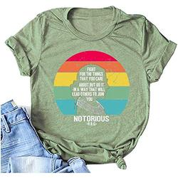 LOHZAQ Fight for The Things You Care About Notorious RBG T-Shirt (Green, 2XL)