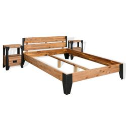 "vidaXL Bed Frame with 2 Nightstands Solid Acacia Wood Steel 59.8""x79.9"""