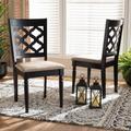 Baxton Studio Ramiro Modern Sand Fabric & Dark Brown Finished Wood 2-PC Dining Chair Set - Wholesale Interiors RH336C-Sand/Dark Brown-DC-2PK