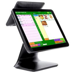 """POS Cash Register POS Machine 4G+64G with 15"""" Touch Screen Monitor WiFi Module Windows 10 for Small Business, Restaurant, Supermarket, Grocery, Convenience, Pharmacy, Retail (Double Screen)"""