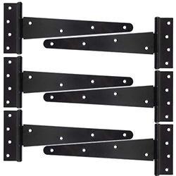 HLMOptimo Heavy Duty T Hinge Tee Hinge T Strap Hinge Shed Hinge Gate Hinge Barn Hinge Fence Hinge Door Hinge Wrought Rustproof All Size Black w/Screws (6 pcs, 10 inch)