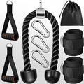 Home Gym Accessories, 9 Pieces Tricep Rope Pull Down Exercise Machine Attachments, Cable Machine Accessories, Tricep Rope, Cable Handles, Ankle Straps for Home Gym Arm Strength Workout Training