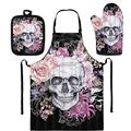 SEANATIVE Rose Skull Apron Gardening Aprons Dress Sets,Oven Mitts and Pot Holders Sets Heat Resistant Oven Gloves,Soft Oven Mitts and Potholders for Kitchen Cooking Baking BBQ
