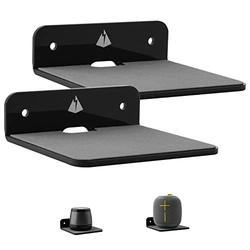 TXEsign Wall Shelf Speaker Stand-2 Pack, Small Wall Shelf Speaker Mount for Bluetooth Speaker Webcam Cell Phones Mesh WiFi Mesh Router Toy Display Shelf Acrylic Speaker Shelf (Black, Small)