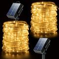 Rope Lights Outdoor String Lights Solar Fairy Lights Warm White 2 Pack 65.6 Ft 200 Led String Lights Waterproof Battery Operated Copper Wire Lights for Christmas Wedding Party Trees