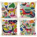 Kids Cartoon Zoom Decorative Throw Pillow Covers Cute Colorful Animal Home Decor Outdoor Cushion Cases for Children Room Sofa Couch 20X20 Set of 4