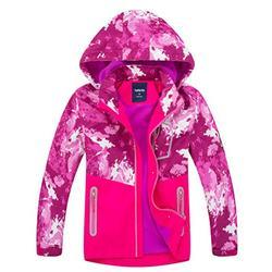 Hiheart Girls Hooded Jackets Color Block Outdoor Windbreaker Pink 7/8