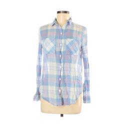 Cotton On Long Sleeve Button Down Shirt: Blue Plaid Tops - Size Medium