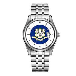 Luxury Men's Watch 30m Waterproof Date Clock Male Sports Watches Men Quartz Casual Christmas Wrist Watch Connecticut Flag, American State Flag Wristwatch