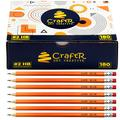 CraftR Pre-Sharpened #2 HB Wood Cased Bulk Buy Pencils - Graphite Core -180 Value Pack with a Latex Free Eraser - Ideal for Home, School or Office Supplies. Drawing, Sketching, Creating