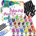 KEFF - Fabric Paint Set – 30 Color Puffy paint kit includes Standard paint, Metallic paint, and glow in the dark paint, Stencils for painting, paint brushes and fabric markers - For kids and Adults