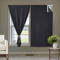 Macochico Self Sticky Curtains for Kitchen Window Shades Cost Saving Curtains Hang Without Rod Wall Panels, Self-Adhesive Drapes Set for Bedroom/Nursery, 42 inch by 63 inch, Black, One Pair