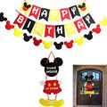 KSNOW Mickey Mouse Party Supplies Kits Mickey Favors Theme Happy Birthday Party Decoration Banner Flags Garland and Welcome Hanger Door Decoration Sign for Baby Kids Shower