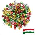 Livder 200 Pieces 1 Inch Christmas Jingle Bells Red Green Golden Silvery Metal Bells for Xmas Gift Wrapping Tree Wreath Decoration, Jewelry Making