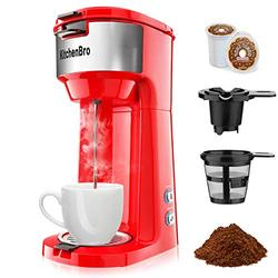 Red Single Serve Coffee Maker for K Cup Coffee maker Pod & Ground Coffee.Coffee Maker with k cup for Travel.Single Cup Coffee maker Can Fast Brew in 3 Mins.One Cup Coffee Maker with Strength Control