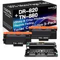 Go4Color Compatible Toner Cartridges & Drum Unit Replacement for Brother DR820 DR-820 TN880 TN-880 Toners use with Brother HL-L6200DW MFC-L6700DW MFC-L6800DW Printer (1x Drum + 2X Toner, 3-Pack)