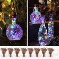 KZOBYD 8 Pack Solar Powered Wine Bottle Lights 20 LED Waterproof Bottle Lights Fairy Cork String Craft Lights for Wine Bottles Garden Patio Outdoor Tabletop Decor (Multi Color)