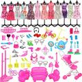 Grehod 108PCSDoll Accessories Toys, Dolls Fashion Set for Dressing Up Dolls, ,Mini Party Outfits Clothes,Barbie Decorating Playset ,Blonde Doll Clothe Accessories Set,Accessories for 11.5 Inch Dolls