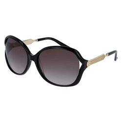 Gucci GG0076S 002 60M Black/Gold/Grey Gradient Square Sunglasses For Women+FREE Complimentary Eyewear Care Kit