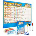 Chores Chart for Multiple Kids - Magnetic Responsibility Chart for Kids - Toddlers Behavior Chart - Reward Chart for Kids at Home - Star Chart - Sticker Chart - Chore Task Board (Blue.)