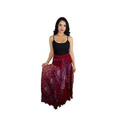 Happy Trunks Womens Boho Long Maxi Skirts - Loose Gypsy Wrap Skirt - Bohemian Hippie Style High Waisted Skirt (Plus, Red Peacock)