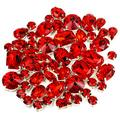 DONGZHOU Fancy Stone with Setting red sew on Rhinestones 82 pcs Mixed Shapes Light siam Sewing Crystal Stone with 4 Hole Silver Setting for Jewelry Making Crafts Clothes Wedding Dress Handbags