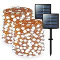 JMEXSUSS 200 LED Solar Fairy Lights Outdoor Waterproof Super Bright White Solar String Lights 2 Pack 66ft Copper Wire Lights for Christmas Tree Garden Patio Party Yard Fence Decoration